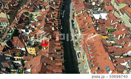 Aerial view of a street in Old City of Bern, Switzerland 50698740