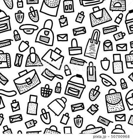 Seamless pattern of bags in doodle style. 50700968