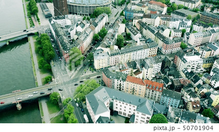 Aerial view of streets of Frankfurt am Main, Germany 50701904