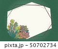 多肉植物とサボテンのイラスト フレーム 素材 緑色 50702734