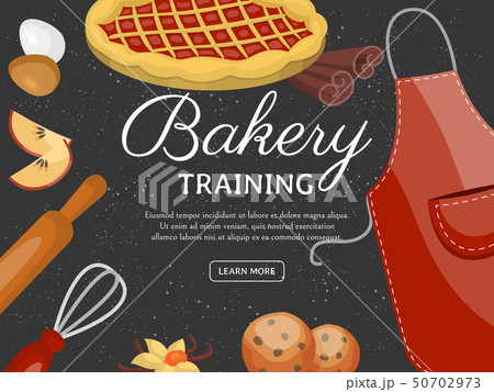 Baking training school poster vector illustration. Chocolate fruity desserts sweet cake shop with 50702973