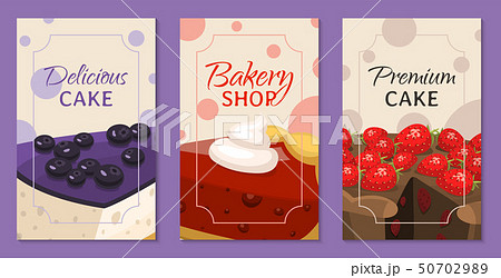 Baking shop menu cards vector illustration. Chocolate and fruity desserts for sweet cake shop with 50702989