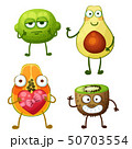 Funny fruit characters isolated on white background. Cheerful food emoji 50703554