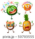 Funny fruit characters isolated on white background. Cheerful food emoji 50703555