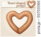 Heart shaped pretzel cookie illustration. Cartoon vector icon 50703560