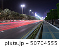 The Night cityscape with road in Abu Dhabi, UAE 50704555