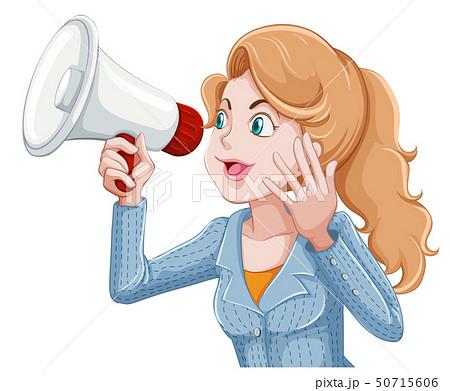 woman speeking into megaphone 50715606