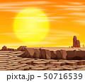 Sunset in desert scene 50716539