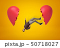 Young man in casual clothes falling between two broken heart pieces on yellow background 50718027