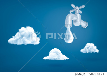 3d rendering of grey tap with water drop about to fall on blue background with three white clouds. 50718171