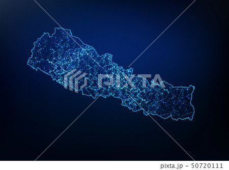 Abstract of nepal map network, internet and global 50720111