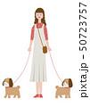 犬の散歩中の女性 50723757
