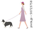 犬の散歩中の女性 50723758