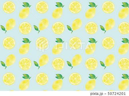 水彩風 葉つきレモンと輪切りレモンのパターン 50724201