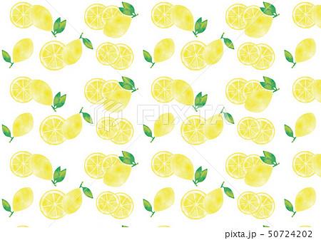 水彩風 葉つきレモンと輪切りレモン多めのパターン 50724202