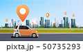 cars with location pin on road online ordering taxi car sharing concept mobile transportation 50735293