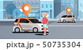 cars with location pin on road online ordering taxi car sharing concept mobile transportation woman 50735304