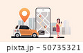 woman using mobile app ordering automobile vehicle with location mark rent car sharing concept 50735321