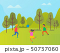 Girls and Boy Playing Volleyball in Forest Vector 50737060