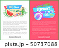 Discount Sale, Summertime Offer Vector Palm Leaves 50737088