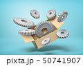 3d rendering of cardboard box in air full of grey metal cogwheels flying out from it on light-blue 50741907