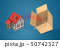 3d rendering of white house with red roof flying out of cardboard box on blue background 50742327
