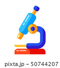 Icon of school microscope in flat style. 50744207