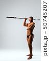Athletic brunett with barbell shot 50745207