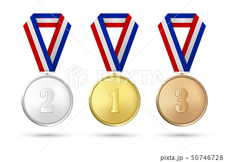 Vector 3d Realistic Gold, Silver and Bronze Award Medal Icon Set with Color Ribbons Closeup Isolated 50746728
