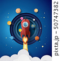 Space rocket launch and galaxy . 50747382