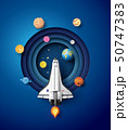 Space rocket launch and galaxy . 50747383