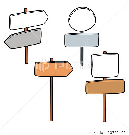 vector set of direction post 50755162