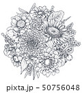 Floral composition. Bouquet with hand drawn flowers and plants. 50756048