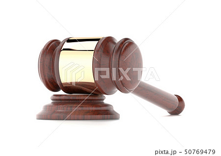 Gavel. Law court or auction house accessory. 3d rendering illustration isolated 50769479