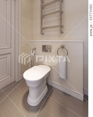 Toilet room in a classical style. in beige tones. 50773482