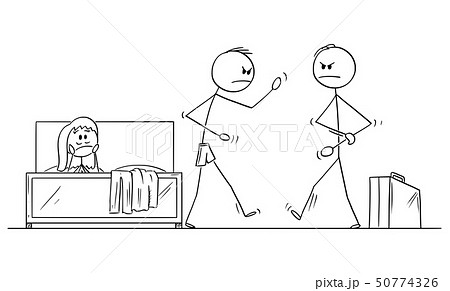 Vector Cartoon of Man or Husband Returned Home and Going to Fight in Bedroom with Lover or Paramour 50774326