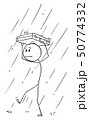 Vector Cartoon of Man or Businessman Walking in Rain with Briefcase Protecting His Head 50774332