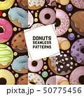 Donut vector seamless pattern doughnut food glazed sweet dessert with sugar chocolate in bakery 50775456