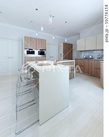 Modern style kitchen with bar 50776158
