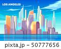 Los Angeles city bay skyline cartoon vector 50777656