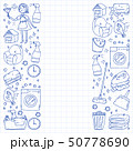 cleaning services company vector monochrome pattern on blue background, drawing pen. 50778690