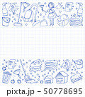 cleaning services company vector monochrome pattern on blue background, drawing pen. 50778695