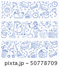 cleaning services company vector monochrome pattern on blue background, drawing pen. 50778709