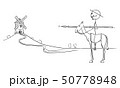 Vector Cartoon Illustration of Knight on Horse - Don Quijote, Character From The Ingenious Gentleman 50778948