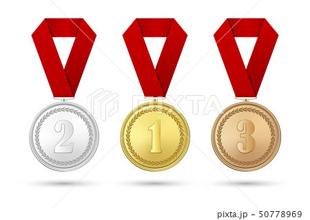 Vector 3d Realistic Gold, Silver and Bronze Award Medal Icon Set with Color Ribbons Closeup Isolated 50778969