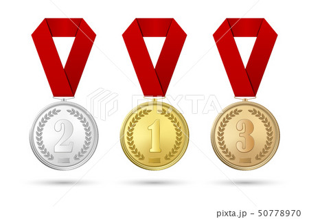 Vector 3d Realistic Gold, Silver and Bronze Award Medal Icon Set with Color Ribbons Closeup Isolated 50778970