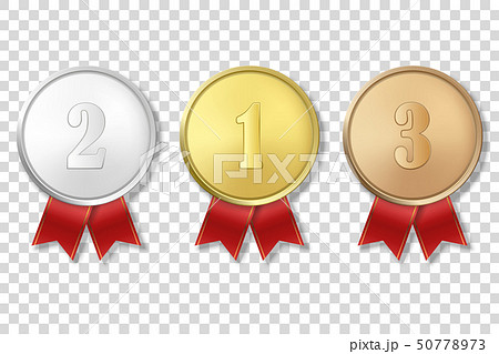 Vector 3d Realistic Gold, Silver and Bronze Award Medal Icon Set with Color Ribbons Closeup Isolated 50778973