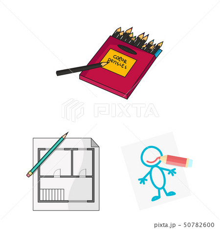 Isolated object of pencil and sharpen logo. Set of pencil and color vector icon for stock. 50782600