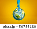 3d rendering of earth globe stuck to blue sticky slime on yellow background 50786180