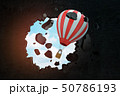 3d rendering of red white hot air balloon breaking black wall 50786193